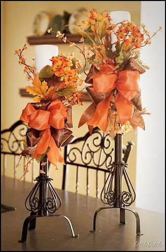 Fall Decorated Candle Sticks