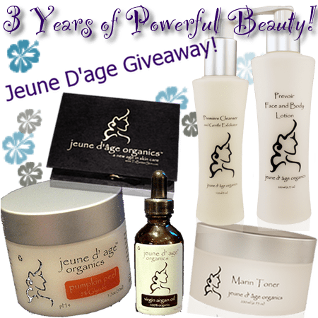 Enter the Jeune D'Age Organics Skincare giveaway at the Bionic Beauty blog