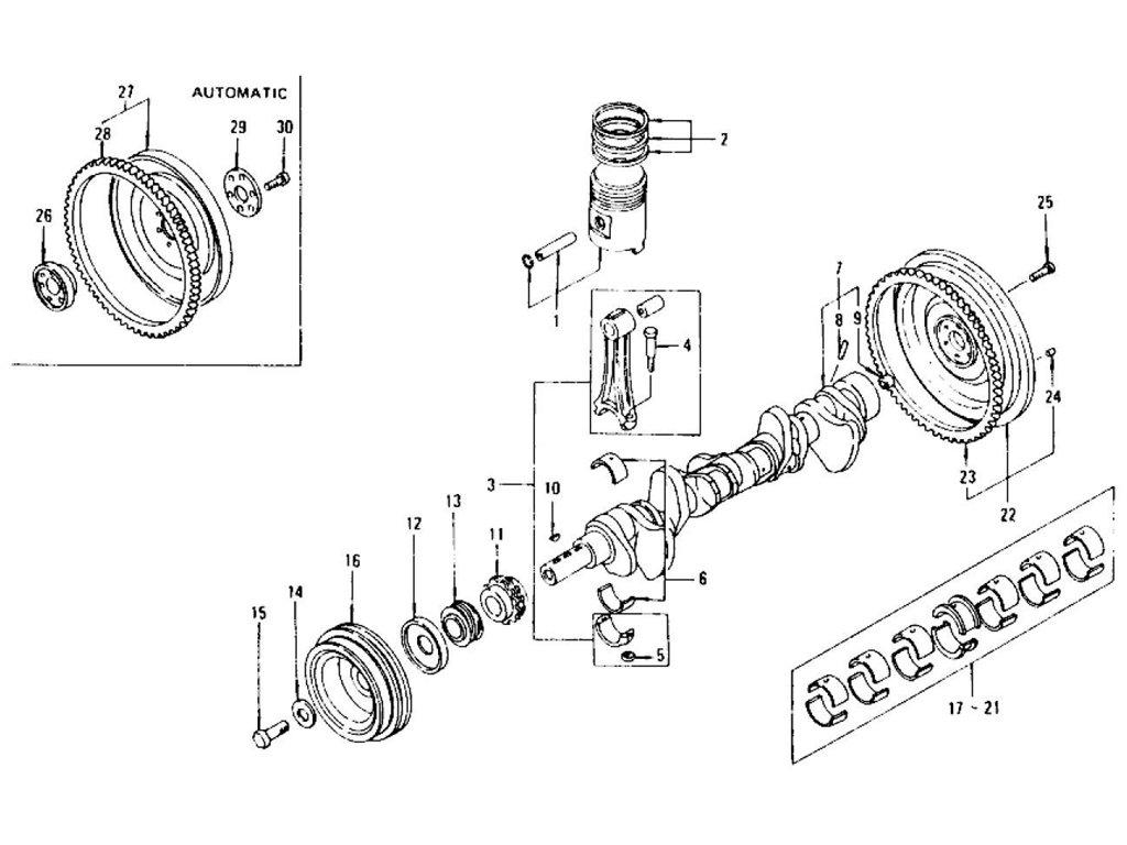 Datsun 240z 260z Piston Crankshaft Amp Connecting Rod L24 L26 To Nov 74