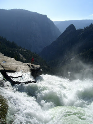 Serena stands on the edge of Nevada Falls