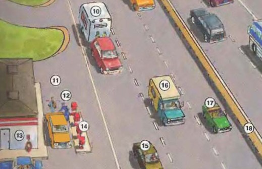 10. trailer 11. service area 12. attendant 13. air pump 14. gas pump 15. passenger car 16. camper 17. sports car 18. center divider