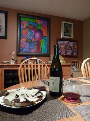 Mushroom bruschetta and Pinot Noir