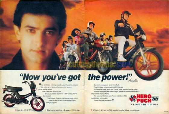 Aamir Khan in ad for Hero Puch mopeds