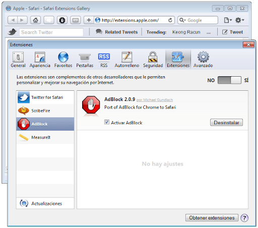 Safari 5.0.1 con Extensiones