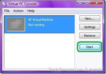 25Starting XP Virtual Machine