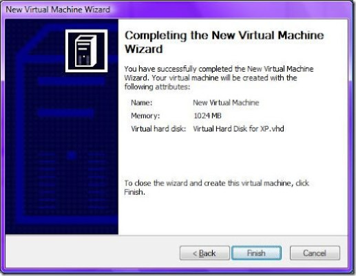 9Completing the New Virtual Machine Wizard