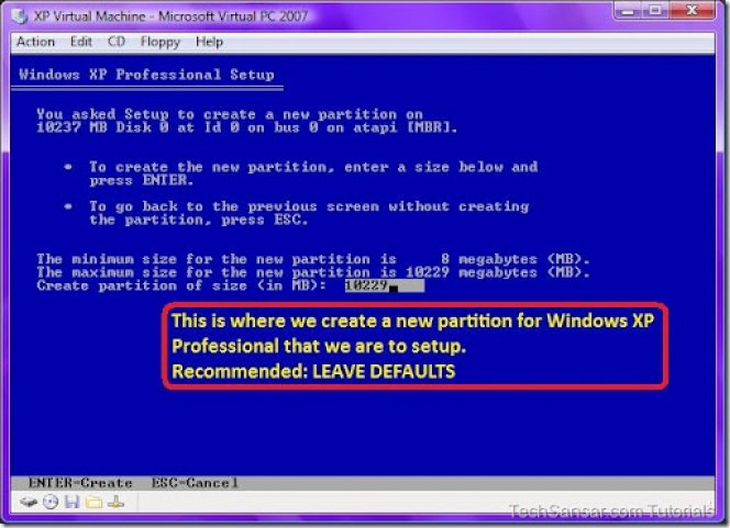 16 Creating a new partition for Windows XP Professional Setup