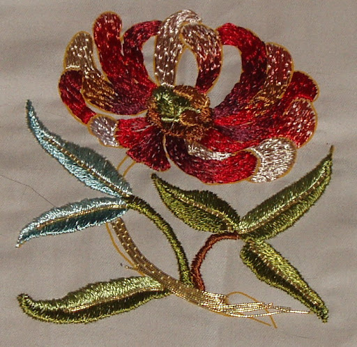 chrysanthemum in goldwork