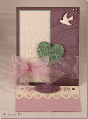 plum heart easel card open