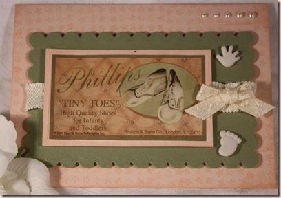 vintage baby shoe card