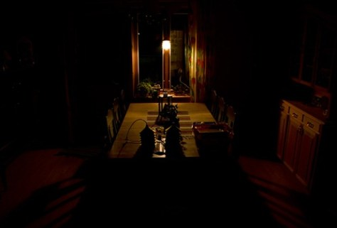 dining room at night - single lightsource