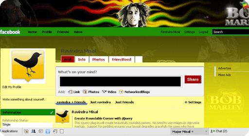 Bob Marley (Reggae ) facebook theme