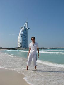 Me in front of Burj al Arab at Jumeirah Beach