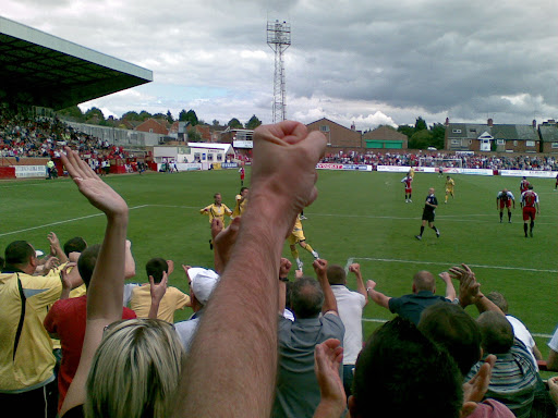 Sam Smiths goal sparks off wild celebration in the Rushden section of the A-Line Arena.