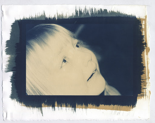 Julia crying - Cyanotype with Ammonium Dichromate Over and Washed in Sodium Sulfite
