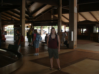 Andrea at baggage claim in the Lihue airport.