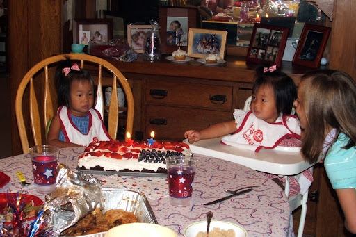 The older two planned a great USA birthday party for them!