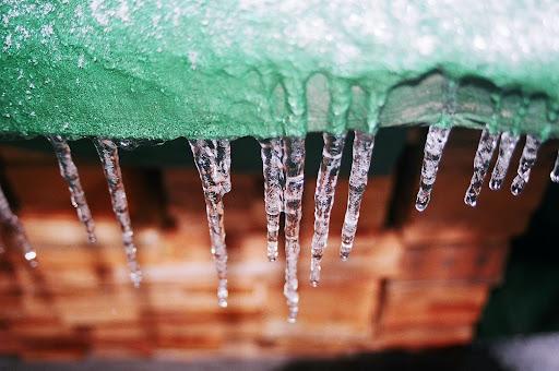 Ice on a tarp