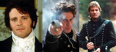 Three panels - Colin Firth in Pride and Prejudice, Ioan Gruffudd in Hornblower, Sean Bean in Sharpe