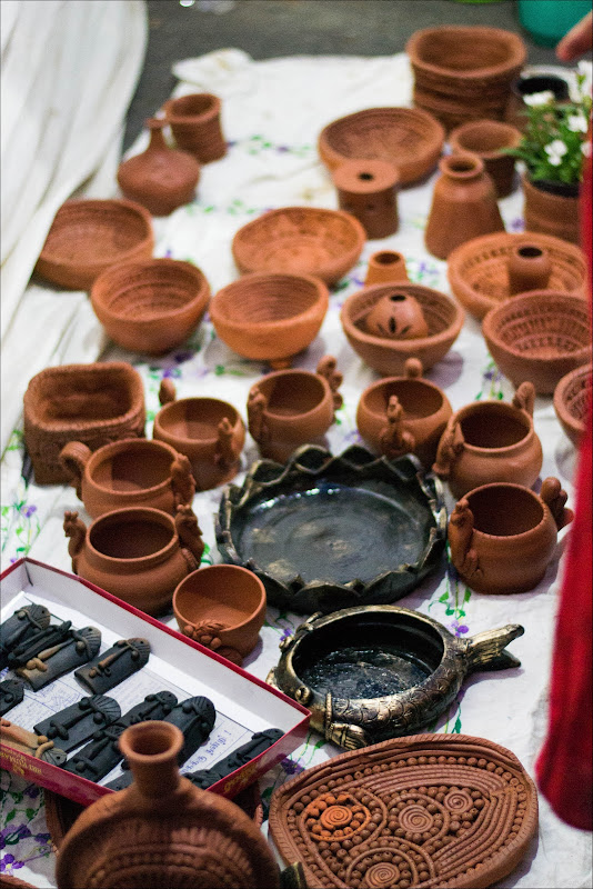 Terracotta utensils for display - Open Streets, Bangalore