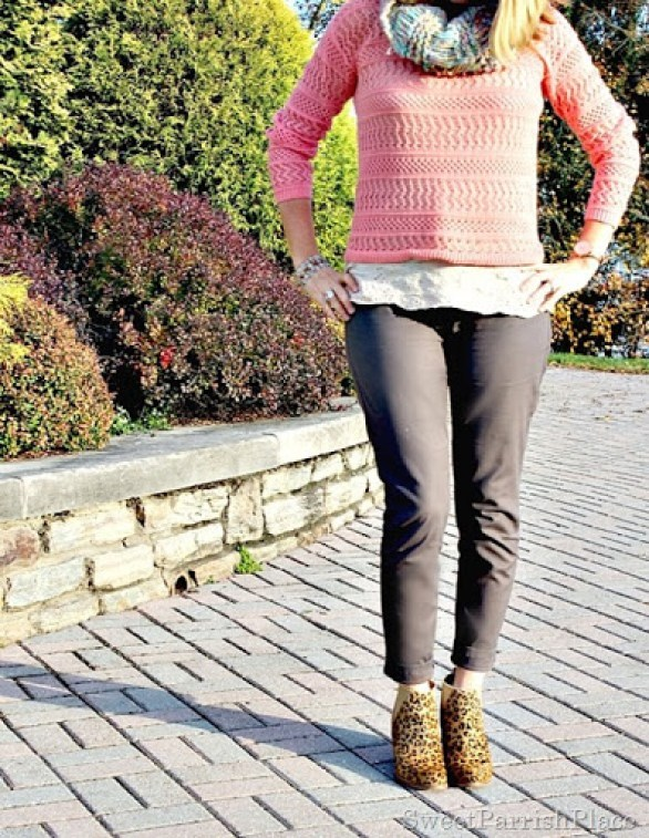 peach-sweater-grey-pants-leopard-booties-infinity-scarf-4