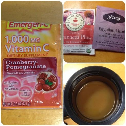 Emergen-C, echinacea tea, licorice tea, coffee