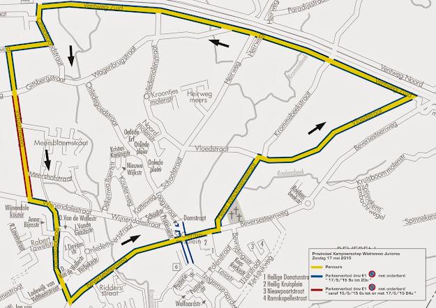 Parkeerverbod plan PK wielrennen juniores, Roeselare West-Vlaanderen 17 mei 2015