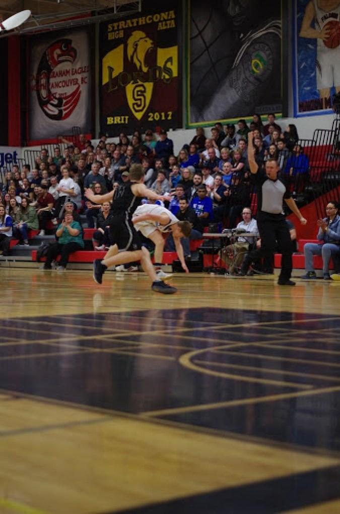 St. Joseph Guardians vs. Bishop James Mahoney Saints in the 2017 Saskatoon Men's High School Basketball City Final.
