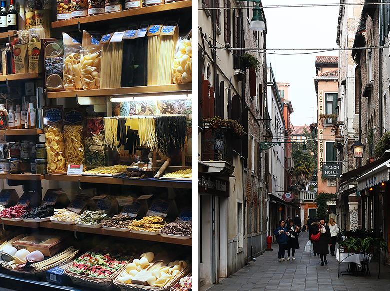 Rues et épiceries fines à Venise.