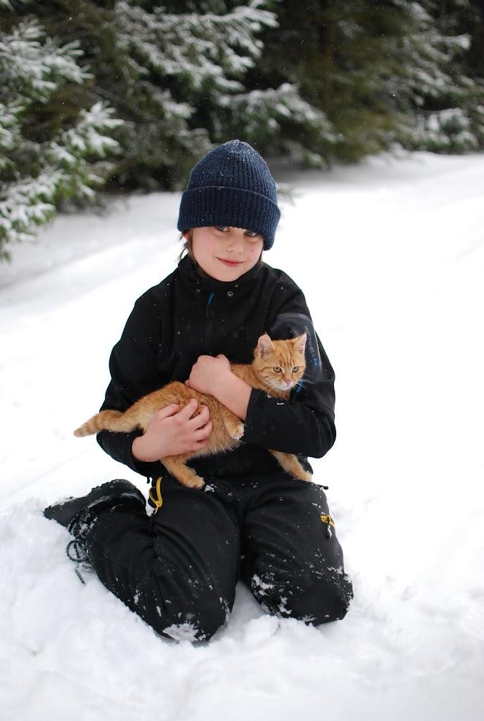 En kattunge och en annan unge (Loke viking)