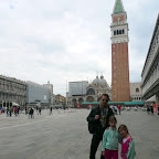 Cute girls and dad in Venice.