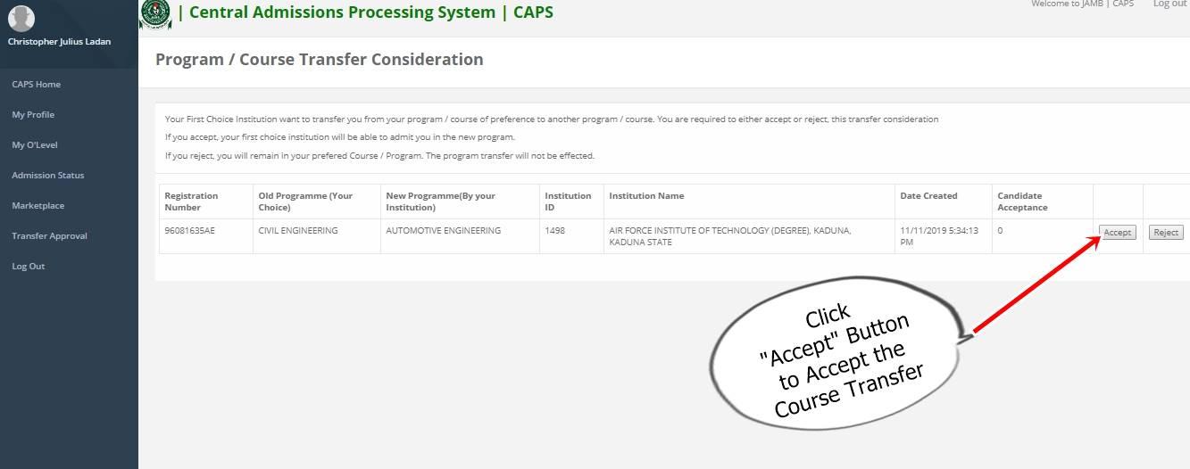 jamb caps accept transfer button