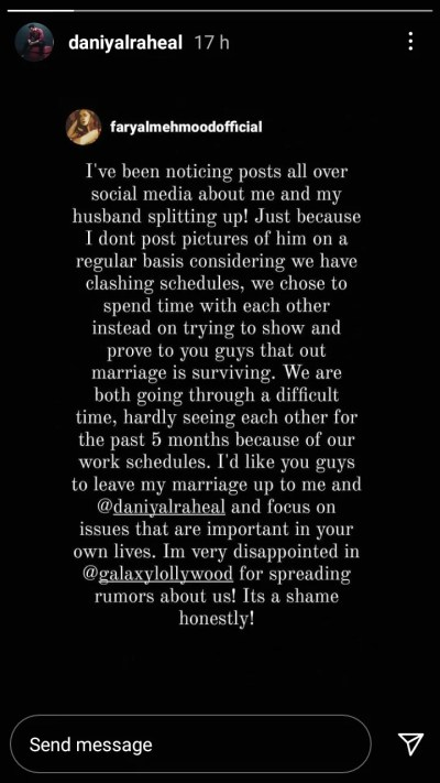 We have hardly seen each other in 5 months. Actress Faryal Mahmood Breaks the Ice over Divorce Rumors