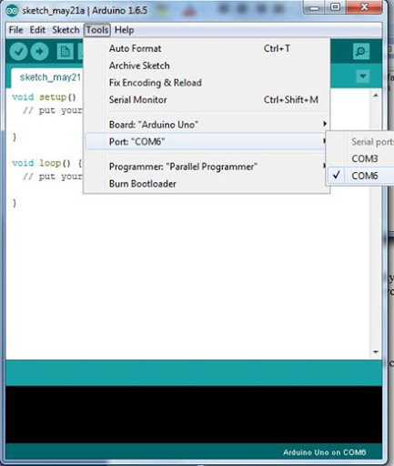 COM PORT in Arduino Serial Communication Software