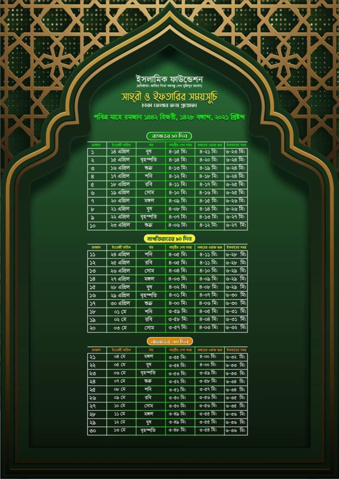 Sehri and Iftar time in Bangladesh Ramadan calendar 2021