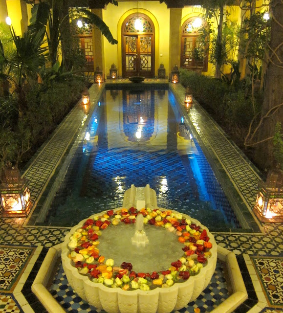 A riad courtyard with a swimming pool