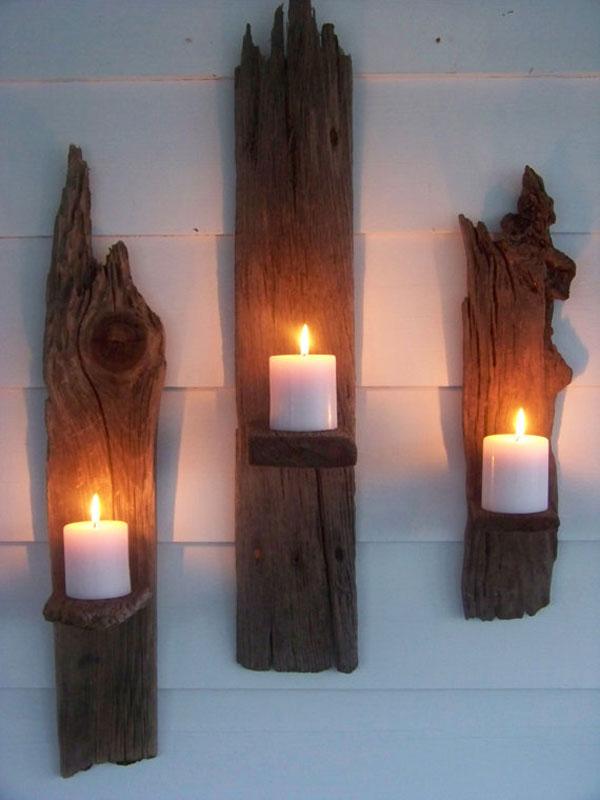 Candelabros rústicos de aspecto vikingo