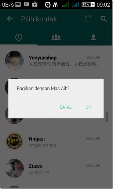 trik mengirim conact messenger whatsapp