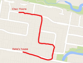 Google map showing the route from my house to my friend's house