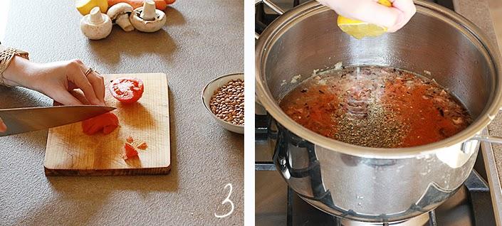 easy vegan recipe, lentil and vegetables soup, meal with vegetal proteins, spicy vegetarian meal, vegetarian recipe