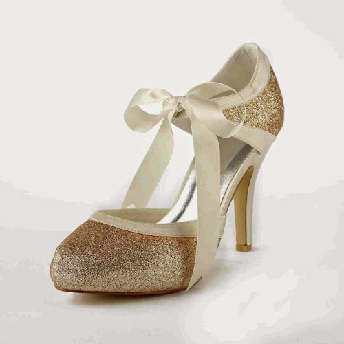 Gold Bridal Shoes with Ribbon