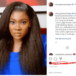 Actress Mercy Johnson  open up about violence in a recent Instagram post.