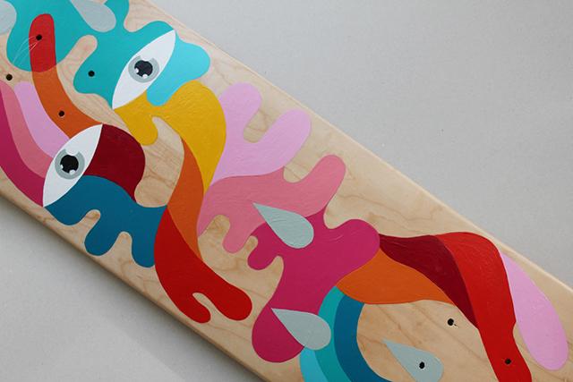 *手繪臉部色塊相拼滑板:藝術家Oli-B幾何創作! 2