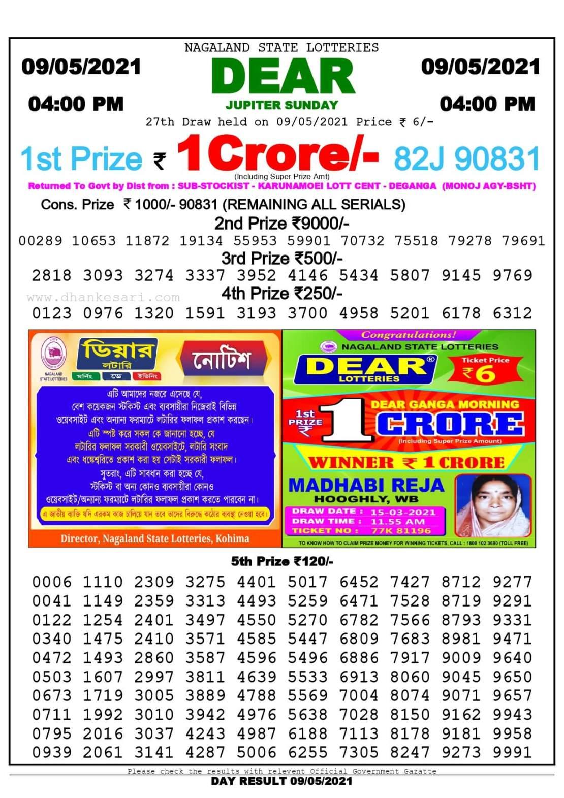 Dhankesari Lottery Sambad Result Today 4:00 PM 8.5.2021