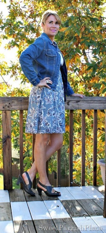 Floral-dress-denim-jacket-grey-sandals-2