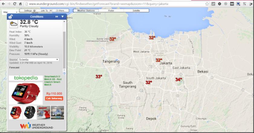 cara melihat suhu berbagai daerah