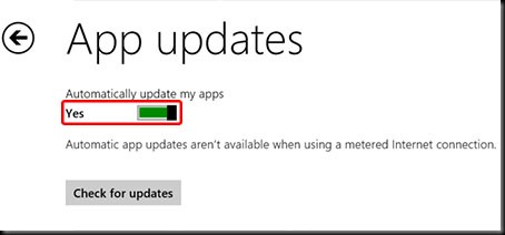 on off aplikasi update otomatis windows 8