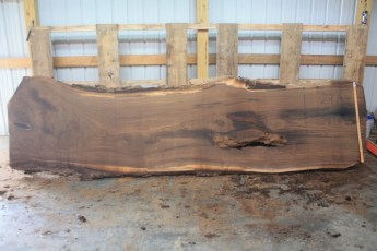 Walnut 297-4  Length 12' Max Width (inches) 39 Min Width (inches) 32 Thickness 12/4  Notes : Kiln Dried