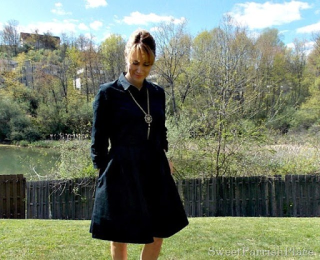 Black dress, brown peep toe booties2