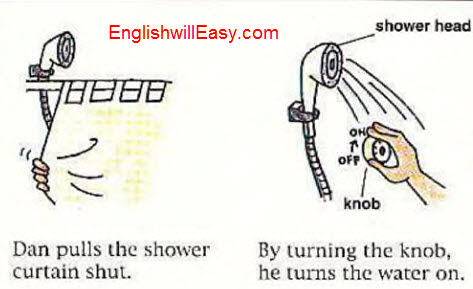 Taking a shower - English Picture Dictionary for Everyday Activities.